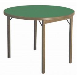 Tavolo da gioco in legno rotondo pieghevole. Mod. Moon