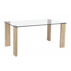 Tavolo in vetro Arley 160x90 gamba legno by Bizzotto. Vetro temperato mm 12.