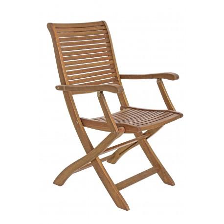 Sedia con braccioli pieghevole da giardino. Legno naturale. Modello ...