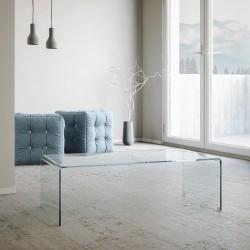 Tavolino in vetro curvato modello Saturn