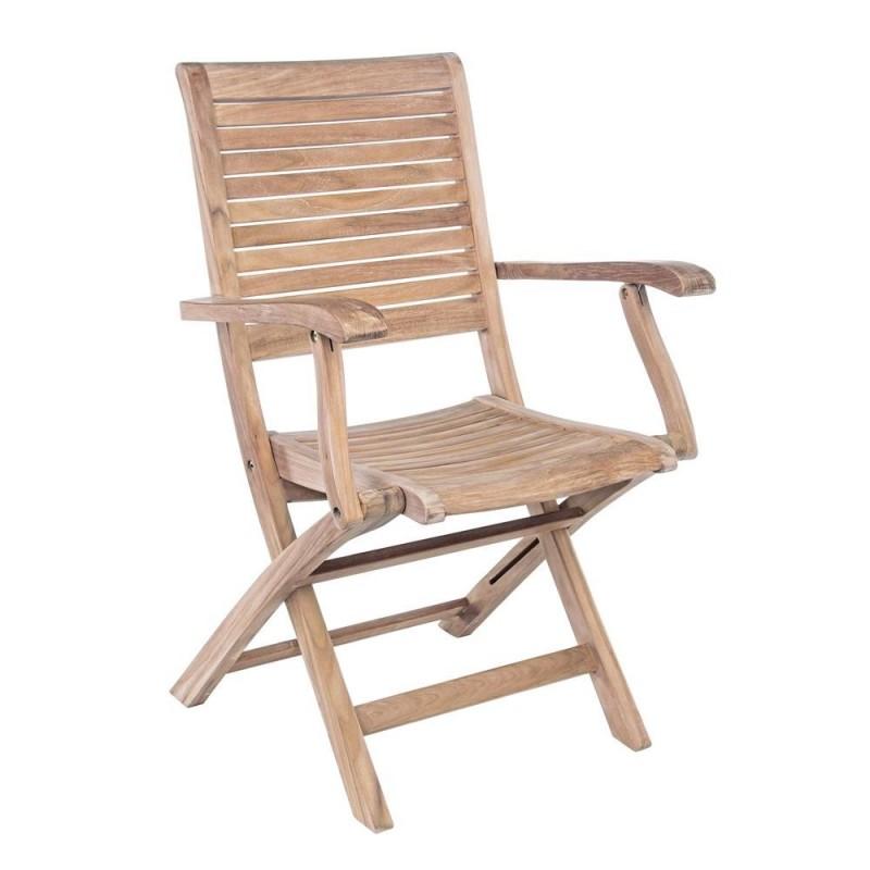 sedia da giardino con braccioli in teak maryland bizzotto