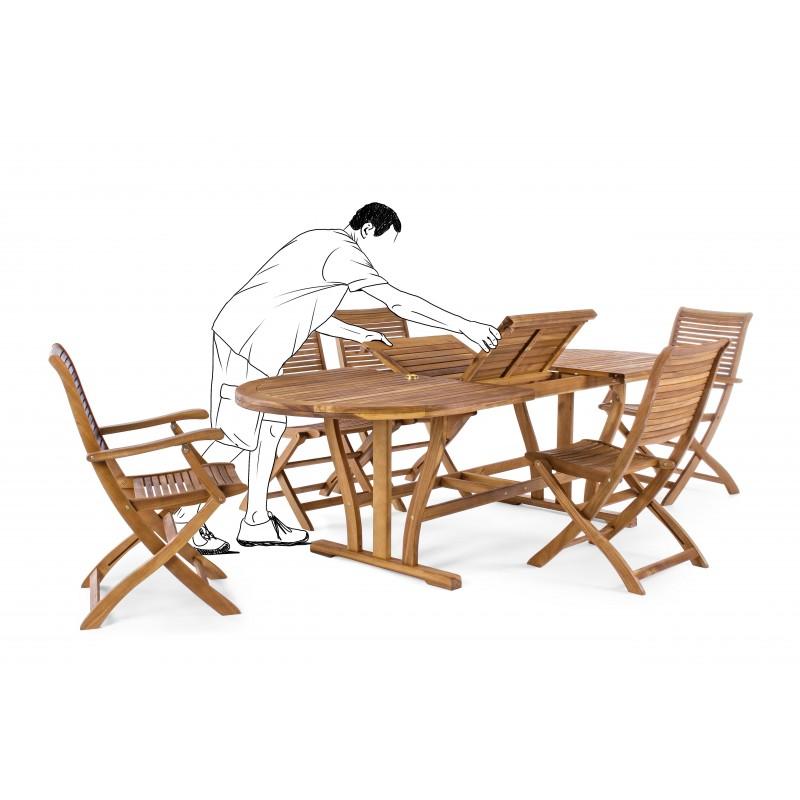 Sedia con braccioli pieghevole da giardino legno naturale for Sedia uovo giardino
