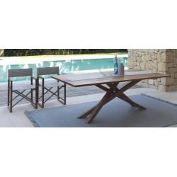 Tavolo da esterno Bridge by Talenti in mogano. Misura cm. 110x220