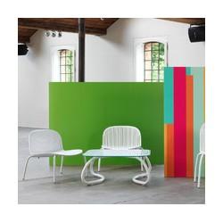 Tavolino Loto Relax alluminio- vetro.Diversi colori e misure.