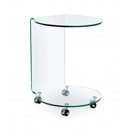 Tavolino vetro Iride rotondo con ruote by Bizzotto.