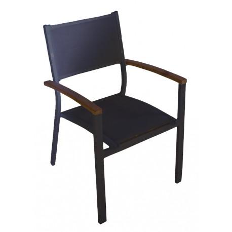 Sedia da esterno Formentera Greenwood. Teak e alluminio nero.