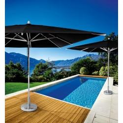 Base per ombrellone in alluminio satinato. Da riempire con sabbia o sassi.