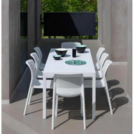 Set da giardino Tavolo allungabile Rio 140 e sedie Bit di Nardi. Vari colori.