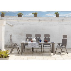 Set da giardino tavolo Libeccio e sedia Acquamarina di Nardi.