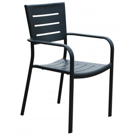 Sedia  per esterni Chiavari con braccioli, in alluminio antracite. Impilabile.