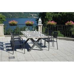 Tavolo per esterni Fucecchio 200x100cm in alluminio antracite, con piano  in resin cement effetto legno