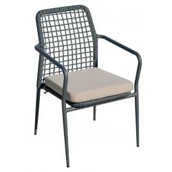 Sedia  per esterni Pisa con braccioli e cuscino, in alluminio e corda. Impilabile.