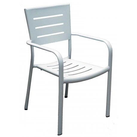 Sedia  per esterni Chiavari con braccioli, in alluminio bianco. Impilabile.