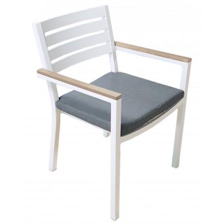 Sedia Zoagli in alluminio bianco, impilabile, braccioli in resin wood e cuscino sfoderabile grigio scuro
