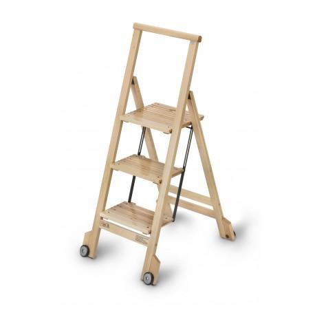 Scala a tre gradini pieghevole BIBLIO 3 di ARIS in legno di faggio.