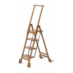 Scala a quattro gradini pieghevole BIBLIO 4 di ARIS in legno di faggio.