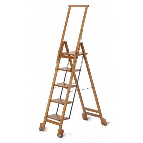 Scala a cinque gradini pieghevole BIBLIO 5 di ARIS in legno di faggio.