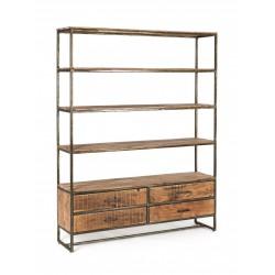 Libreria in legno di acacia e acciaio Elmer 4 piani e 4 cassetti By Bizzotto