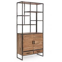 Libreria in legno di acacia e acciaio Elmer by Bizzotto. 2 ante e 2 cassetti.