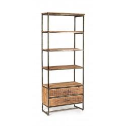 Libreria in legno di acacia e acciaio Elmer by Bizzotto. 4 piani e 2 cassetti.