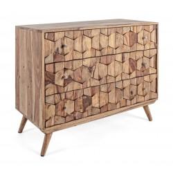 Cassettiera in legno di acacia Elmer by Bizzotto. 3 cassetti.