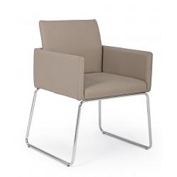 Sedia con braccioli Sixty PU /Text In ecopelle -tessuto e metallo, vari colori By Bizzotto