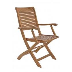 Sedia con braccioli pieghevole da giardino. Legno naturale. Modello Noemi