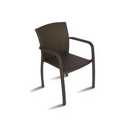 Sedia da esterno con braccioli Reims By Greenwood. Alluminio e rattan sintetico
