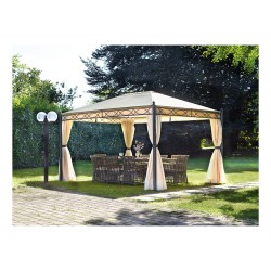 Gazebo in metallo 3x4. Con tende laterali, tende mosquito e antivento.