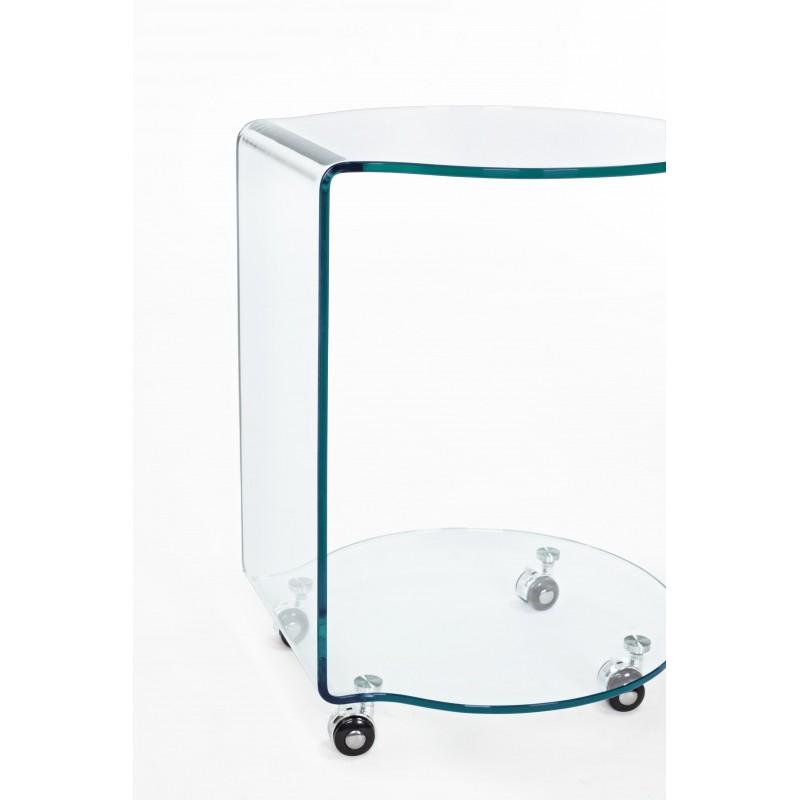 Tavolini Da Salotto In Cristallo Con Ruote.Tavolino Vetro Iride Rotondo Con Ruote By Bizzotto