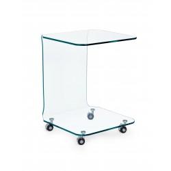 Tavolino vetro Iride quadrato con ruote By Bizzotto.