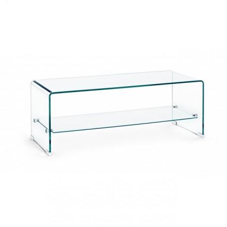 Tavolino in vetro Iride rettangolare con ripiano by Bizzotto. Vetro spessore mm. 12