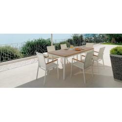 Sedia poltrona Timber alluminio e teak. By Talenti