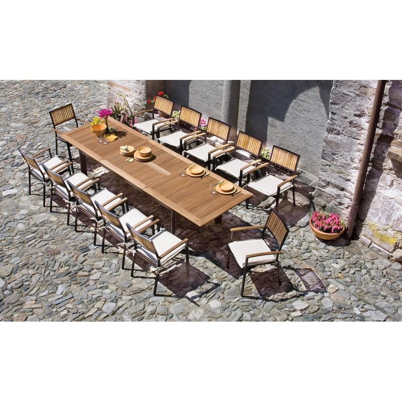 Tavolo E Sedie Da Giardino In Legno.Tavolo Giardino Ovale Allungabile Legno Naturale Modello Noemi