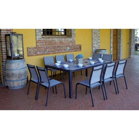 Tavoli Da Giardino Con Piano In Ceramica.Set Tavolo E Sedie Da Giardino Siena Di Greenwood Alluminio E Piano In Ceramica