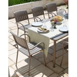 Set da giardino tavolo allungabile Maestrale 220 e sedie Musa di Nardi.