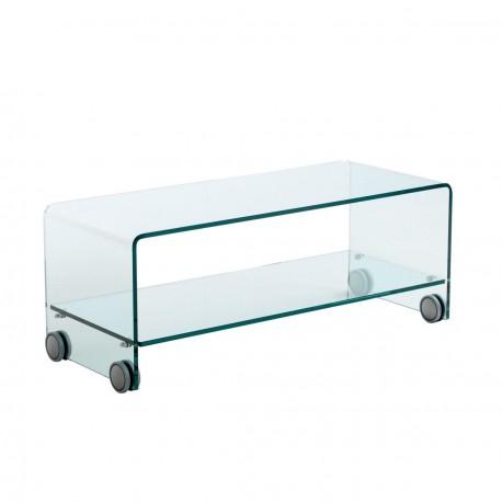 Consolle Porta Tv Vetro.Mobile Porta Tv In Vetro Con Ruote Oxfort