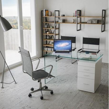Scrivania Moderna In Vetro Per Uso Professionale.Scrivania Con Cassettiera B Desk Struttura In Vetro