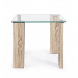 Tavolino NEW Arley in vetro con gamba legno Dimensioni 55x55x51h By Bizzotto