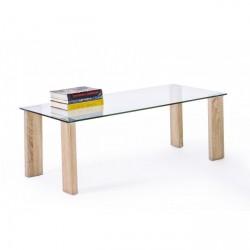Tavolino Arley in vetro con gamba legno by Bizzotto. Dimensioni 120x60x45h