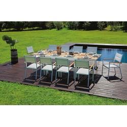 Tavolo da giardino Bonifacio di Greenwood. In Teak e alluminio, allungabile.