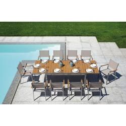 Tavolo da esterno Cortina di Greenwood, resinwood e alluminio satinato. Allungabile 165/265x100