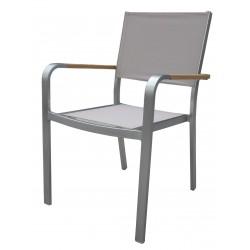 Sedia da esterno Cortina impilabile in alluminio satinato e Textilene tortora.