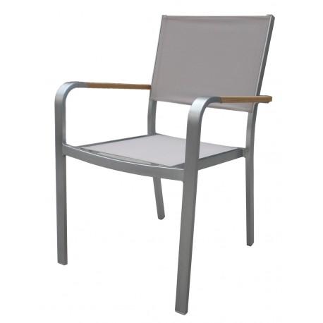 Sedia da esterno Cortina impilabile in alluminio e Textilene tortora ...