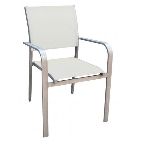 Sedie Da Esterno Legno.Sedia Crans Montana In Alluminio Effetto Legno E Textilene