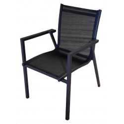 Sedia per esterni Pienza con braccioli, in alluminio e textilene. Impilabile.