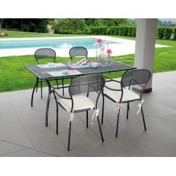 Tavolo da esterno Ameno 160x100 cm, in ferro color grigio antracite - disegno rete