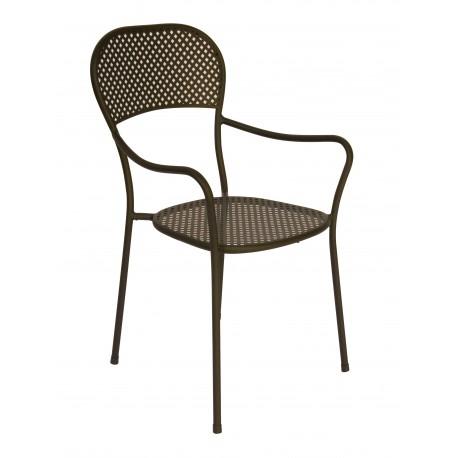 Sedia Intra, con braccioli, in ferro color grigio antracite vernice antiruggine, impilabile.