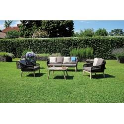 Salotto da giardino Sanremo con cuscini. Acacia e corda Di Greenwood