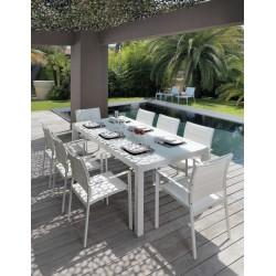 Tavolo da esterno allungabile Touch by Talenti. Alluminio e vetro. cm. 152-225